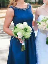 Navy Blue Bridesmaid Prom Short Cocktail Knee Length Dress Open Back size 2