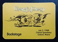 Grateful Dead Backstage Pass Oxford Plains Maine ME 7/2/88 7/2/1988 Rick Griffin
