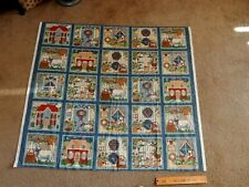 "DARLING VILLAGE 25 SQUARES  PANEL 41.5 x 46"" HOUSE CAT QUILT FABRIC pillow RARE"