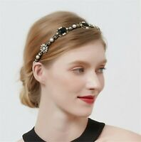 Women Black Gem Crystal Retro Gold Royal Hair Headband head Band Hoop accessory