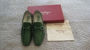 SALVATORE FERRAGAMO PARIGI NG NIB Green Patent Leather Drivers Size 10 D