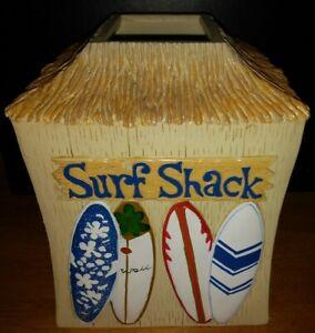 DEAN MILLER Surf Shack Tissue Box Holder - Tiki Hut Surf Boards Beach Ocean