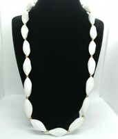 NAPIER Signed White Lucite Twisted Bead Necklace Gold Accents Couture Vintage