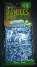 Sprigs Banjees 2 Pocket Wrist Wallet for Travel, Running, & Hiking Blue Paisley