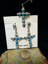 Zuni Artisan Davis Kaamasee Sterling 925 Multistone Cross Pendant & Earrings Set