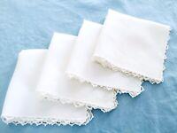 """4 Vintage Cocktail Dinner Napkins White with Crochet Edges Handmade 10"""" x 10"""""""