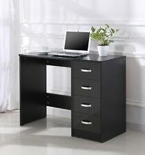 Black High Gloss 4 Drawer Dressing Table Vanity Computer Study Desk