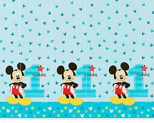 1 Year old MICKEY 1ST Birthday Table Cover Measures 54 in x 96 in, 36 sq ft