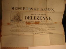 1827 FRENCH FUNERAL NOTICE BROADSIDES x 2