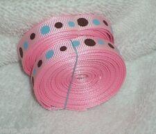 "Pink Dot Print Grosgrain Ribbon, 3/8"" Korker Bow Scrapbooking, Note Cards Craft"