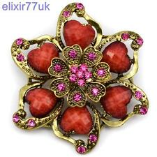 "2.6"" LARGE GOLD HEART & FLOWER VINTAGE RED BROOCH PINK RHINESTONE CRYSTAL BROACH"