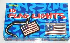 STEPHEN SPROUSE AMERICAN FLAG STRING OF LIGHTS 10 FLAGS INDOOR/OUTDOOR NIB 2002