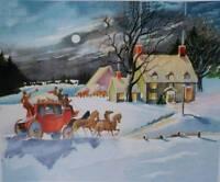 Christmas Coach Winter Moon Light vintage art