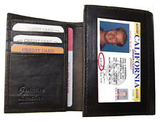 BLACK MEN'S LEATHER CREDIT CARD HOLDER PLAIN SLIM TRIFOLD WALLET ID BADGE 23