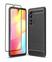 Carbon Case for Xiaomi Mi Note 10 Lite + 3D Full Glass Screen Protector Cover
