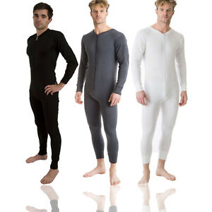MENS THERMAL ALL IN ONE 1ONESIE BASELAYER ZIP UP SOFT WARM RIBBED BLACK CHARCOAL