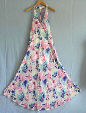 Feline Maxi Dress/Cover Up Halter Large Armpit Floral A-Line/Sweing Size L