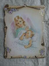Schutzengelbild Wandbild Engelbild Mädchen Geschenk Geburt Taufe Kommunion T4