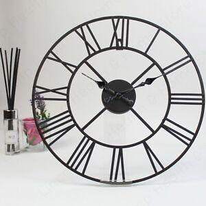 Large Metal Roman Numeral Wall Clock. Decorative Black Cast Iron Effect. 40cm.