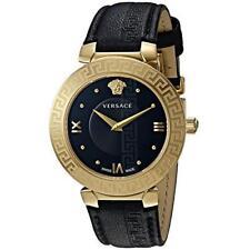 Versace Women Daphnis Swiss Quartz Stainless Steel Leather Watch,Black V16050017