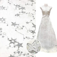 """1Yard Star Embroidery Sequin Lace Tulle Chiffon Fabric Sewing Girl Dress 51"""" wid"""