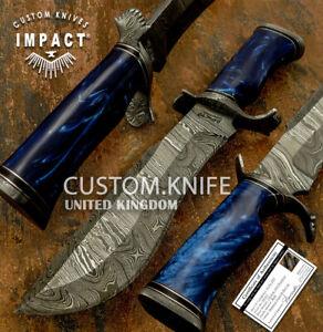 IMPACT CUTLERY RARE CUSTOM DAMASCUS BOWIE KNIFE RESIN HANDLE