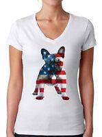 French Bulldog USA Flag Women's V-neck T shirt Tops 4th Of July Gift