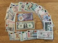 50pcs Different World banknotes with flags 28 countries PAPER MONEY Uncirculated
