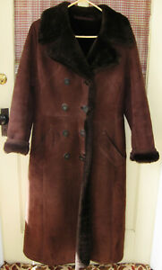 NORM THOMPSON THE SHEEPSKIN SHOP BROWN SHEEPSKIN LONG DOUBLE BREASTED COAT SMALL
