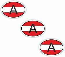 3x Oval Flag Stickers Austria Small Country Code Laptop Tablet Smartphone Case