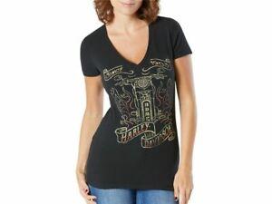 Harley-Davidson Women's Black Ammo Dealer T-Shirt Preston England Large