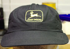 Vintage JOHN Deere Light Weight Hat Cap Snapback Farmer Black Made in USA!