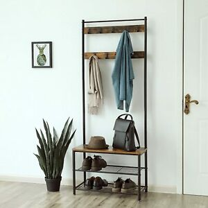 Hat and Coat Stand Hall Tree Hallway Shoe Rack Bench with Shelves Hooks Black