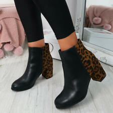 WOMENS LADIES TWO TONE ANKLE BOOTS BLOCK HEEL BOOT CASUAL SHOES SIZE