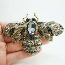 Unique Bee Insect Gothic Style Brooch Pin Black Crystal Rhinestone Woman