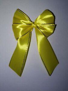 6x Luxury Yellow, Gold Trim Satin Ribbon Gift Bow Easter Wedding Decoration Xmas