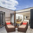 5 Pcs Patio Sofa Set Pe Rattan Wicker Furniture Ottoman Outdoor Gardening Chair