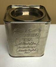 "Vintage Silver Plated Square Tea Tin ""English Breakfast Tea"""