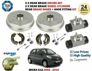 FOR NISSAN MICRA K12 2002-2010 2 X REAR BRAKE DRUMS + WHEEL CYLINDER + SHOES KIT
