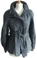 Zara Woman Monochrome Black White Tweed Short Coat Jacket Belted 60s Mod 10 12
