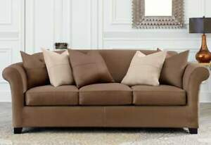 Sure Fit Stretch Suede heavyweight 3 cushion Sofa Slipcover luggage brown