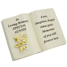 Special Auntie Brushed Gold Rose Memorial Graveside Book Plaque