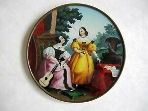 2 Musiciennes Elégantes Grand fixé sous verre Epoque Romantique Diamètre 16,5 cm