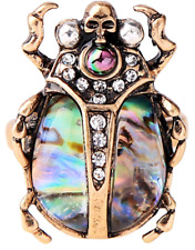 NEW Insect Skull Beetle Antique Gold McQueen Style Abalone Crystal Ring Size 7/O