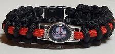 Thin Red Line Firefighter Punisher Skull & USA Flag Handmade Paracord Bracelet