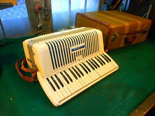 White Vintage Wurlitzer Accordion with tweed Suit Case Sounds good..