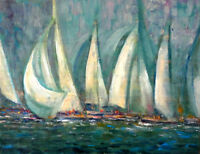 Los Angeles California Yacht Club 11x14 in.Oil stretched canvas Hall Groat Sr.