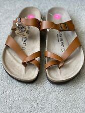 Genuins Brown leather fit flop sandals,EUR size 38,UK Size 5,Made Spain,RRP £ 55