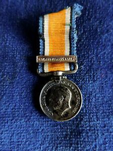 Genuine, miniature silver medal: WW1 War Medal &bar: Falkland Islands 8 Dec '14.