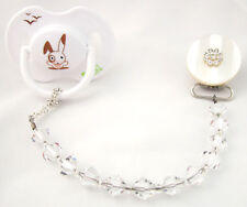 White Sparkly Pacifier Clip with Swarovski Crystals